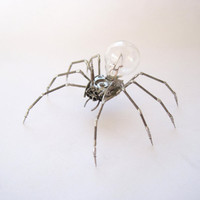Mechanical Spider Sculpture No 26 Recycled Watch Parts Clockwork Arachnid Figurine Stems Lightbulb Arthropod A Mechanical Mind Gershenson