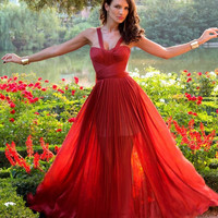 Beautiful a-line red tulle 2013 spring long prom dress/evening dress