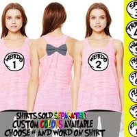 Weirdo Freak BFF Matching Bow Back Tank Top Shirts Best Friends Custom