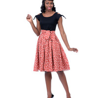 Bernie Dexter**50's Style Black & Red Printed Antoinette Boom Dress - Unique Vintage - Prom dresses, retro dresses, retro swimsuits.