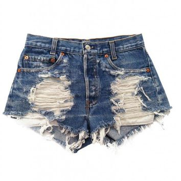 Urban Eclectics Women's Shredded Vega Vintage Levi's Shorts