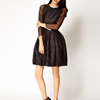 Antipodium XOXO Dress in Lurex Organza with Leather Trims at asos.com