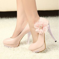 Sexy Womens Romantic Flower Wedding Prom Dress Stilettos High Heels Shoe 2 Color