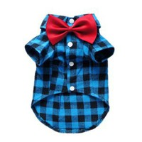 Amazon.com: Soft Casual Dog Plaid Shirt Gentle Dog Western Shirt Dog Clothes Dog Shirt + Dog Wedding Tie Free Shipping,Blue,L: Pet Supplies