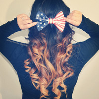 American Flag Hair Bow - Dimeycakes