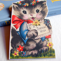 Birthday Greeting Card Keepsake Magnet - A Birthday Wish Kitten With A Flower Wreath And Bow - Retro Vintage Kitsch