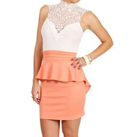 Ivory/Peach Crochet Neck Peplum Dress