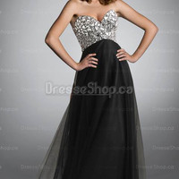 Evening Dresses 2013 — A-line Sweetheart Tulle Floor-length Black Crystal Evening Dress at Dresseshop.ca