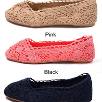 amazinglife  Lace Crochet Flat Espadrilles Shoes