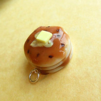 Chocolate chip pancake charm  - polymer clay