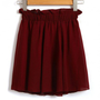 Elastic Waist Claret-red Chiffon Skater Skirt
