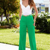 Surplice ruched bodysuit, wide leg pant from VENUS
