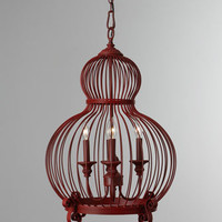 Red Birdcage Pendant Light