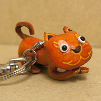 Handmade Leather Kitty Cat Keychain Purse Charm