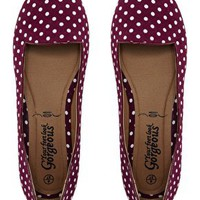 New Look Jot Polka Dot Red Slipper Shoes at asos.com