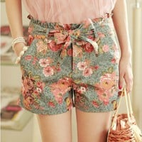High Waisted Summer Flower Jeans Shorts