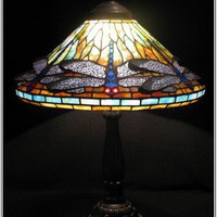 TIFFANY DRAGONFLY TABLE LAMP with construction photographs | BrightandBeautiful - Glass on ArtFire