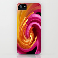 Pink Tulip Twirl iPhone Case by Ally Coxon