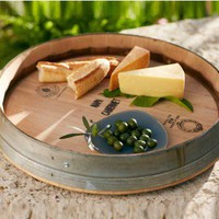 Banded Wine Barrel Lazy Susan - VivaTerra