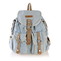 Light Blue Jeans Street Backpack