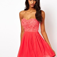 Elise Ryan Cornelli Trim Bandeau Skater Dress at asos.com