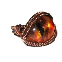 Eye of Sauron ring, LOTR themed ring, copper and painted resin