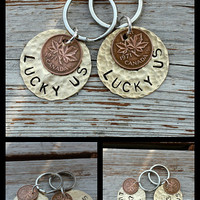 Personalized Brass Metal Keychain with Lucky Penny