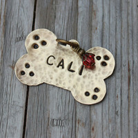 Personalized Brass Metal Dog Tags with Bling
