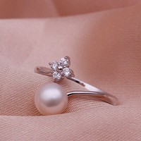 Rhodium Plated Fresh Water Pearl Ring - Only Love