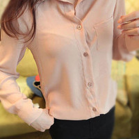 amazinglife — Simple Chiffon Pocket Sheer Shirt