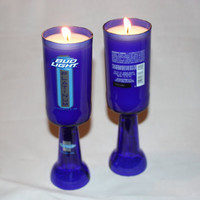 Recycled Beer Bottle - Bud Light Platinum - Goblet Candle - Custom Made