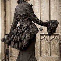 Gothic Bustle Steampunk Jacket Victorian Corset  HAUNTER Of The DARK Bustle Jacket by Lovechild Boudoir