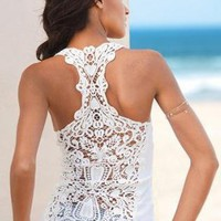Crochet Race Back Tank (White or Black Available)