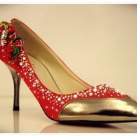 Red wedding shoes with Rhinestones embellishment and clip on Chinese Mistic Knot
