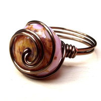 Pink and Brown Ring:  Antiqued Brass Wire Wrapped Swirl Ring, Blush Soft Rose Opal, Size 8, Custom Size