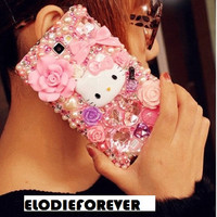 SAMPLE Not For Sale: Handmade Bling Luxury Diamond Pink Rose Cute Cat Rhinestone Crystals Case for Samsung i9220  handmade
