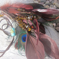 SALE The  Bohemian Chic Tribal Necklace or Headband with Peacock Feathers, Rhinestones, Crystals and LeatherTAGT