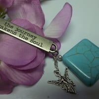 Inspirational Keychain Turquoise Yoga Chakra Angel Keychain With Motivational Statement