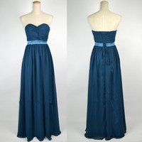 Cheap 2013 New Strapless Sweetheart Floor Length Royal Blue Chiffon Prom Dresses