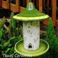 Ceramic Hanging Bird Seed Backyard Bird Feeder Botanical Green
