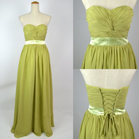 Cheap 2013 New Strapless Sweetheart Floor Length Glass Green Chiffon Prom Dresses