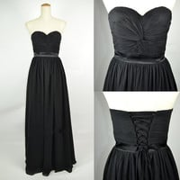 Cheap 2013 New Strapless Sweetheart Floor Length Black Chiffon Prom Dresses