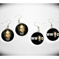 What Would Dwight Schrute The Office Rainn Wilson 2 pairs of charm EARRINGS