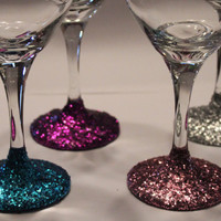 Glitter Wine Glasses - Set of 4