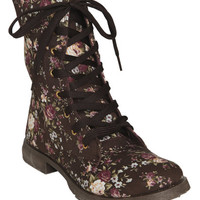 Floral Canvas Combat Boot | Shop Shoes at Wet Seal