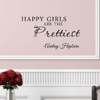 #3 Happy girls are the prettiest. Audrey Hepburn. Vinyl wall art Inspirational quotes and saying home decor decal sticker