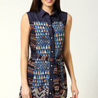 Matilda Mixed Print Sleeveless Shirt Dress