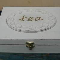 Tea box cream shabby chic
