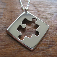 Silver Puzzle Shape Pendant Necklace