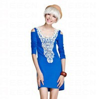 Blue Long Sleeved Lace Dress - Women's Dresses - Apparel